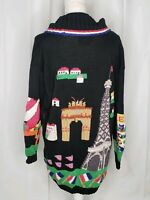 Berek Marta D Vintage Paris Themed Eiffel Tower Travel Black Cardigan Sweater M