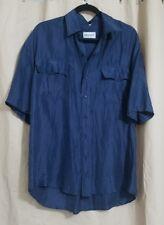 Certain Men Silk Button Down Shirt Blue Size Medium Short Sleeve