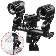 Double/2 head Swivel E27 bulb umbrella holder light stand flash hot shoe adapter