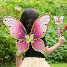 Girls Adult Glitter Cerise Gold Fairy Pixie Nymph Festival Fancy Dress Up Wings