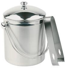 Eiseimer mit Zange und Henkel Eiswürfel Crushed Ice Behälter Silber Gastlando
