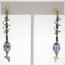 Lovely Gold Wire w/ Swarovski Crystal & Dichroic Glass Beads Gold Plated Wire