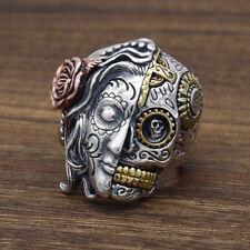 925 Sterling Silver &Brass &Brass Men Jewelry Biker Sugar Skull Rose Ring A3397