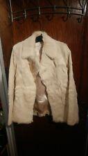 Korean Genuine Goat Fur Blazer Coat Ladies S ivory white mint vtg korea Asian