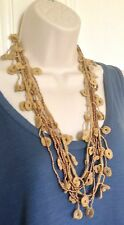 VINTAGE RETRO 70'S STYLE BROWN FRINGE BEADED BOHO LAGENLOOK STATEMENT NECKLACE