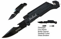 1 Personalized knife Groomsman Gift Fathers Day Wedding Favors w/ Survival Tools