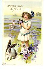 Cute Girl-Bunny Rabbit-Purple Flowers-Easter Greeting Holiday Vintage Postcard