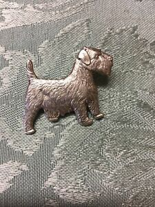 VINTAGE SILVER 925 NORFOLK Terrier DOG PIN BROOCH Early 50s ENGLISH BY KENART