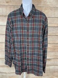 LL Bean Mens Button Down Flannel Shirt Gray Red Plaid Long Sleeve Sz XLT Tall