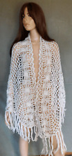 Vintage White Crochet Shawl, Wrap, Scarf, Fringe Accent, One Size, Boho, Nice!