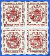 CHILE, COAT OF ARMS, 400 YEARS CITY OF OSORNO, BLOCK OF FOUR, 1958, MNH