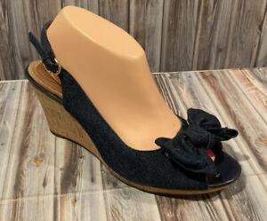CLARKS Artisan Blue Jean Denim Bow Sandals Wedge Cork Heel Peep Toe Size 9.5