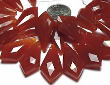 6 pcs RED CHALCEDONY 24mm Faceted Kite Teardrop Beads /s12