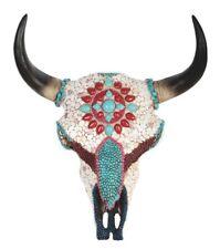 Buffalo Skull Mosaic Turquoise & Stones Unique Taxidermy Wall Plaque Art ��m9