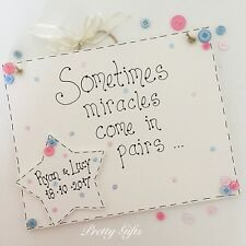 Miracles Come In Pairs Personalised Large Plaque Twins Baby Keepsake Gift