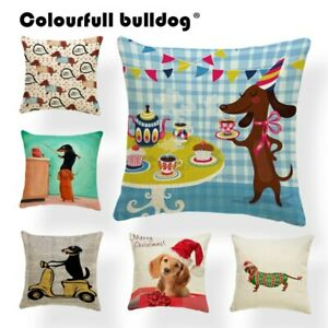 Animal Dachshund Christmas Cushion Covers Table Pillow Cover Blue Decorations