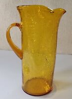 Mid-Century Glowing Amber CRACKLE Art Glass PITCHER Hand Blown APPLIED Handle