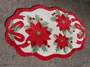 "Large Christmas Poinsettia Holiday Kitchen Door Floor Mat Rug Oval 66"" X 42"""
