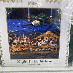 "NEW Bardwil Linens RARE Night in Bethlehem Oblong Tablecloth 60x102"""