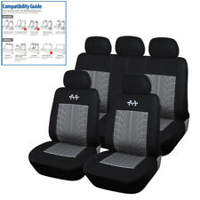 Sports Black+Gray Car Seat Cover 5 Seats Front+Rear Full Set Protector Universal