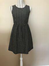Madewell Black White print Sleeveless Fit Flare Ponte Dress Pockets sz 2