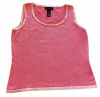 Jones New York Signature Women's Tank Top Size Medium Pink W/Pink Accents New