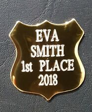 TROPHY PLATE GOLD SHIELD Customised PREMIUM Quality METAL NAME PLAQUE