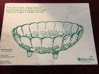 "Indiana Glass Oval Center Fruit Bowl Pastel Green 8"" x 12"" w/Box NOS"