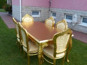 TABLE SET - BAROQUE STYLE ROYAL TABLE SET 6 CHAIRS + TABLE - GOLD #MB9