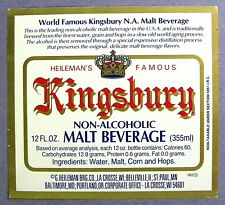 Heileman KINGSBURY NON ALCOHOLIC  MALT BEVERAGE beer label WI 12oz #KN006