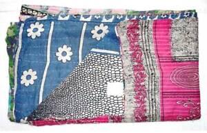 Vintage Kantha Bedspread Throw Cotton Bangali Blanket Twin Gudri Ralli