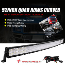"10D Quad-Row 5152W 52"" Inch CREE Curved LED Light Bar Flood Spot Driving VS 42''"