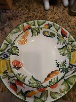 "Varm Ceramica Italy 13"" Serving Bowl + 4 Pasta Bowls Vegatable Pattern FAST SHIP"