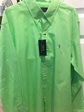 Ralph Lauren £85 Slim-Fit Lime Oasis-Green 100% Cotton Summer Shirt - Medium
