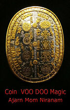 Real Thai Amulet Holy Alien UFO Voo Doo Magic Coin Aj Mom  protect black magic