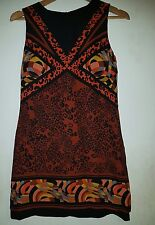 Brown/Black Multi Coloured Geometric/Animal Print Sleeveless Dress, UK 8 EUR 34