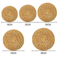 2PCS Weave Rattan Round Natual Placemats Straw Mats Table Mat For Dining Drinks