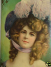 ANTIQUE VICTORIAN LADY LAVENDER PINK PLUME HAT PORTRAIT CELLULOID PHOTO ALBUM