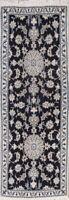 """Elegant New Navy Blue Floral Wool Nain Oriental Runner Rug 6' 9"""" x 2' 6"""""""