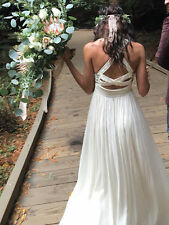 Free People Golden Dawn Maxi Dress *Ivory* Bohemian Wedding  *Rare Find* Size 8