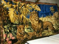 Vintage Tapistry for Households 1976 Lions and garden scene Multicolors