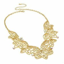 Gold Colour AB Crystal Filigree Leaf Design Chain Necklace - Fashion Jewellery