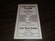 OCTOBER 1965 LAKE SHORE SYSTEM BUS SCHEDULE COLUMBUS, OH-PITTSBURGH, PA
