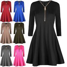 Womens Ladies Long Sleeve Golden Front Zip Flare Mini Skater Swing Dress UK 8-22
