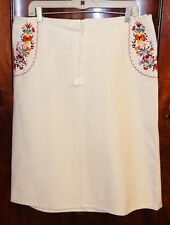 MUI MUI WHITE DENIM SKIRT W/FLORAL EMBROIDERY/LACED FRONT-48/14