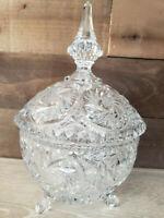 Beautiful rare vintage American Brilliant Cut Crystal Footed Candy Jar w/ Lid