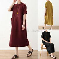 Women Cotton Short Sleeve Casual Shirt Dress Solid Holiday Long Midi Dresses New