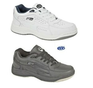 Mens Leather Trainers Shoes DEK Orleans Wide Fit Lace Up BLACK WHITE Size 6-14