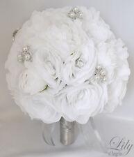17pcs Wedding Bridal Bouquet Set Silk Flower Decoration Package WHITE