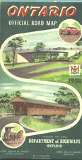 1958 Ontario  Province-issued Vintage Road Map  / Nice cover graphics !!